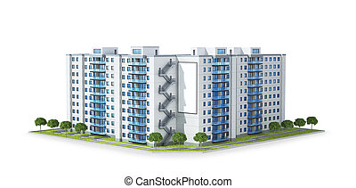 Condominium or modern residential building. Real estate development and the concept of urban growth. 3d illustration