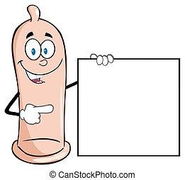 condoom, richtend aan, een, leeg teken