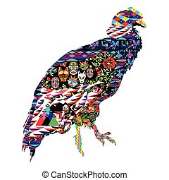 condor bird with patterns - Bird Condor decorated with...