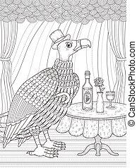 condor gentleman coloring page - condor gentleman with wine...