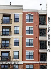 condos, marrón, balcones, amarillo