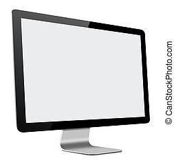condotto, monitor, schermo, magro, illustrazione, computer, fondo, vuoto, bianco, 3d
