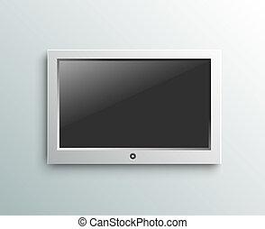 condotto, monitor, tv, parete, fondo, appendere