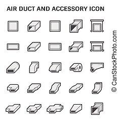 condotto, tubo, aria, icona