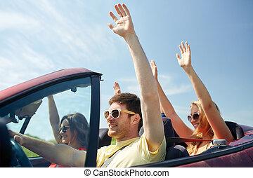 conducción, cabriolet, coche, país, amigos, feliz
