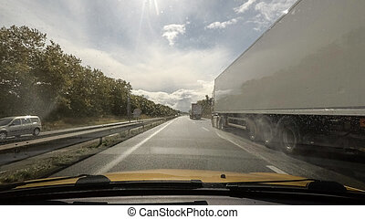 conducción, carretera, punto, vista