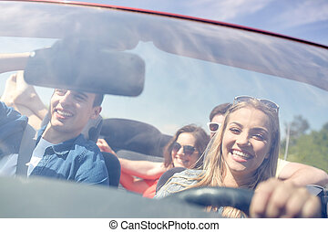 conducción, coche, feliz, cabriolet, amigos