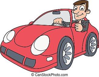 conducción, coche, hombre de negocios