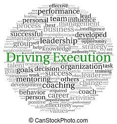 conducción, ejecución, concepto, en, palabra, etiqueta, nube