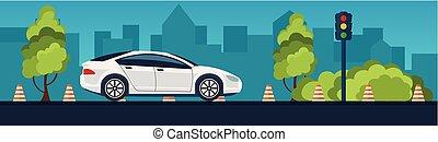 conducción, illustration., vector, automóvil, education., escuela, banner., reglas, road.