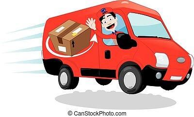 conducción, mensajero, camionetade departo