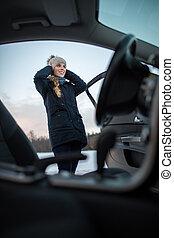 conducción, mujer coche