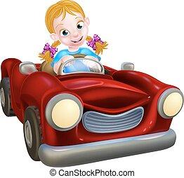 conducción, niña, coche, caricatura
