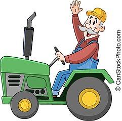 conducción, tractor, granjero
