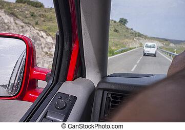 conducción, tranquilamente, por, local, en, verano
