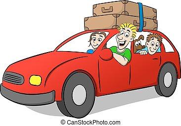 conducción, vacaciones, familia , caricatura