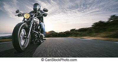conducción, viaje, vacío, camino, viaje, teniendo, carretera, moto, diversión, motocicleta, riding.