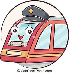 conducteur train, illustration, mascotte