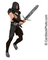 conducteur, vasthouden, zwaard