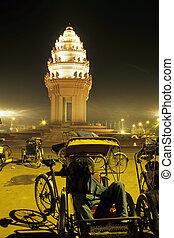 conducteurs, cambodge, tuk-tuk, penh, monument-, phnom