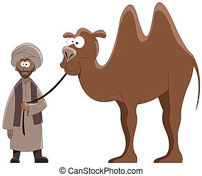 conductor and camel - Cartoon conductor with a camel