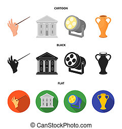 Conductor baton, theater building, searchlight, amphora. Theatre set collection icons in cartoon, black, flat style bitmap symbol stock illustration web.