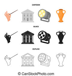 Conductor baton, theater building, searchlight, amphora. Theatre set collection icons in cartoon, black, outline style bitmap symbol stock illustration web.