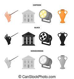 Conductor baton, theater building, searchlight, amphora. Theatre set collection icons in cartoon, black, monochrome style bitmap symbol stock illustration web.