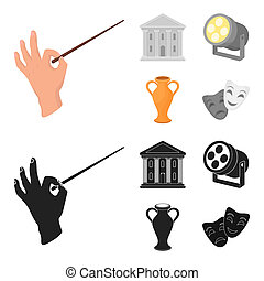 Conductor baton, theater building, searchlight, amphora. Theatre set collection icons in cartoon, black style bitmap symbol stock illustration web.