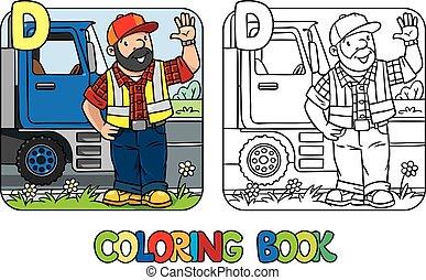 conductor, book., d, alfabeto, abc., colorido, profesión