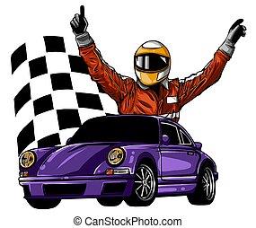 conductor, carrera, frente, vector, el suyo, ilustración, coche
