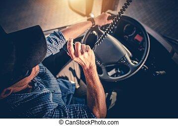 conductor, charla, radio de cb, camión
