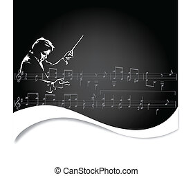 Classical music conductor outline on a black background