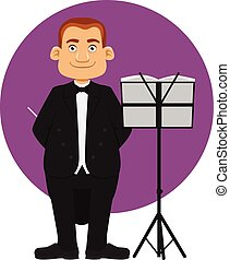 Conductor - cartoon of smiling male Orchestra Conductor