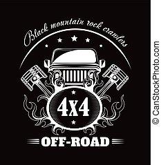 conductor, coche, club, vector, extremo, o, automóvil, off-road, cartel
