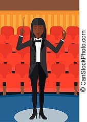 An african-american woman directing with her baton on the background of concert hall vector flat design illustration. Vertical layout.