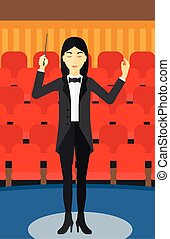 An asian orchestra conductor directing with her baton on the background of concert hall vector flat design illustration. Vertical layout.