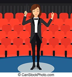 An orchestra conductor directing with her baton on the background of concert hall vector flat design illustration. Square layout.
