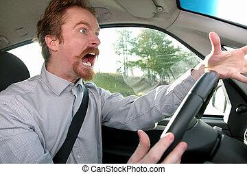 conductor, enojado