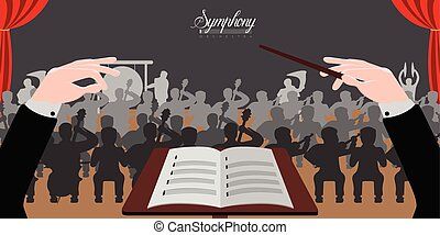 Conductor hands icon - Isolated conductor hands icon with...