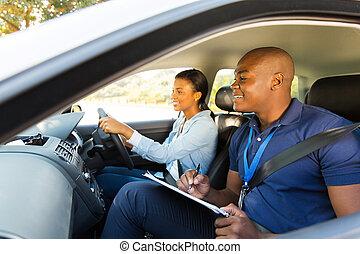 conductor, instructor, aprendiz, conducción, africano