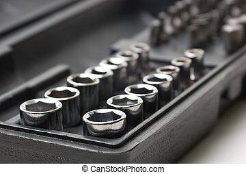 conductor, kit, llave inglesa, tornillo