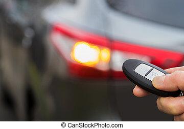 conductor, llave coche, engañar, sistema, arriba, seguridad...