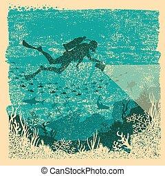 conductor, mar, underwater., linterna, cartel, escafandra ...