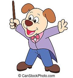 conductor., musica, cartone animato, cane