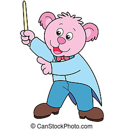 conductor., muziek, spotprent, beer