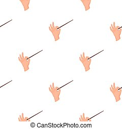 Conductor orchestra icon in cartoon style isolated on white background. Theater pattern stock vector illustration