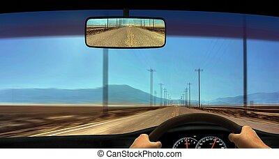 conductor, punto, parabrisas, vista