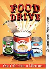 conduire, affiche, nourriture