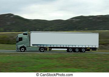 conduire, jeûne, blanc vert, camion, caravane